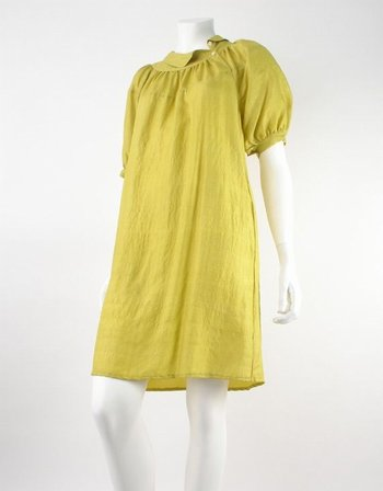 dkny puff sleeve dress with collar detail