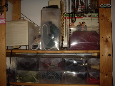 Clear Shoe Boxes - scarf/handbags collection