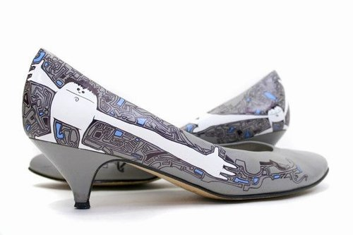 Hand painted shoes by NDEUR - Je T aime plus que ca