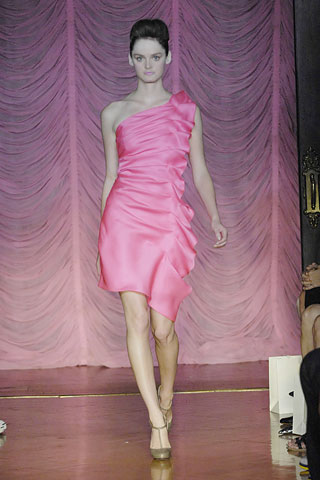 One Winged Dove Dress in Pomp Pink Satin Faced Organza