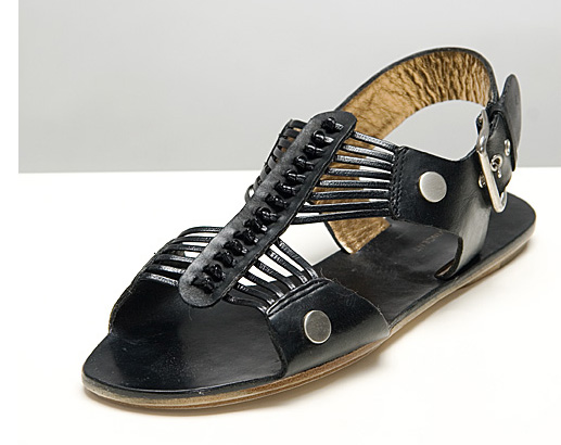 Olympia Black Leather Sandals - Twelfth St. by Cynthia Vincent