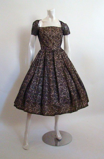 1950s Lace Illusion Dress - Shrimpton Couture