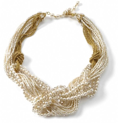 Miriam Haskell Chain and Pearl Knotted Necklace