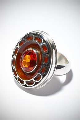 Dress Ring By Alisha Boyd in Collaboration With Athena Karkanis, Sterling silver ,Enamel ,Lab grown padparadscha sapphire