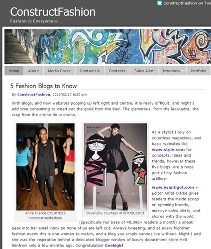 I'm one of ConstructFashion's 5 Fashion Blogs to Know
