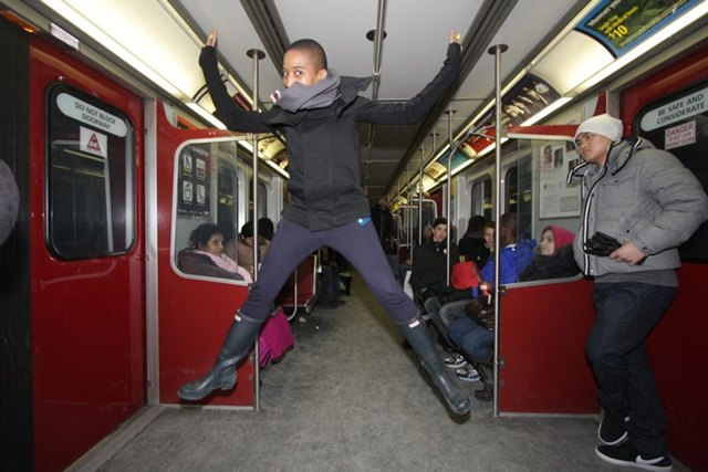 Subway Jumping with Anita by Arieh Singer