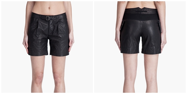 Washed Leather Shorts by Yigal Azrouel
