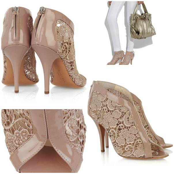 Givenchy Lace-insert patent-leather sandals