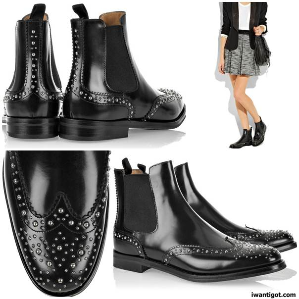 Ketsby polished-leather studded ankle boots by Church's