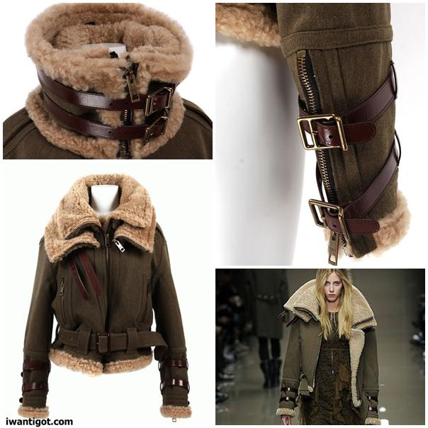 Wool Jacket with Shearling Collar by Burberry Prorsum