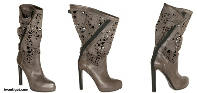 Laser Cut Leather Boots by Haider Ackermann