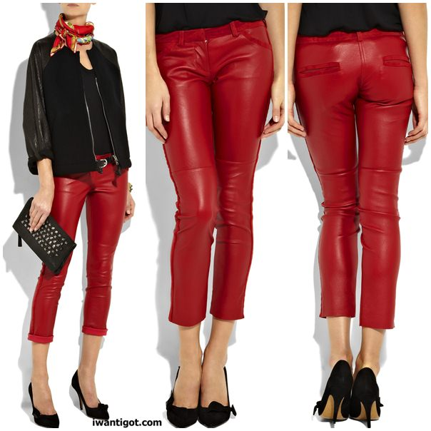Sok leather cropped pants