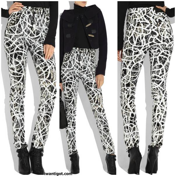 i want: Graffiti-print high-waisted jeans by Proenza Schouler x JBrand