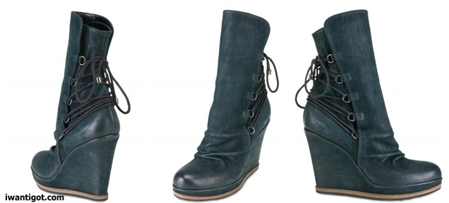 Washed Leather Low Boot Wedges by Strategia