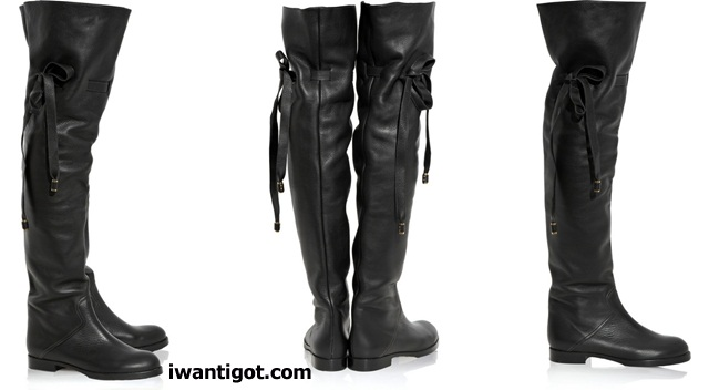 i want: Flat leather over-the-knee boots by Chloé