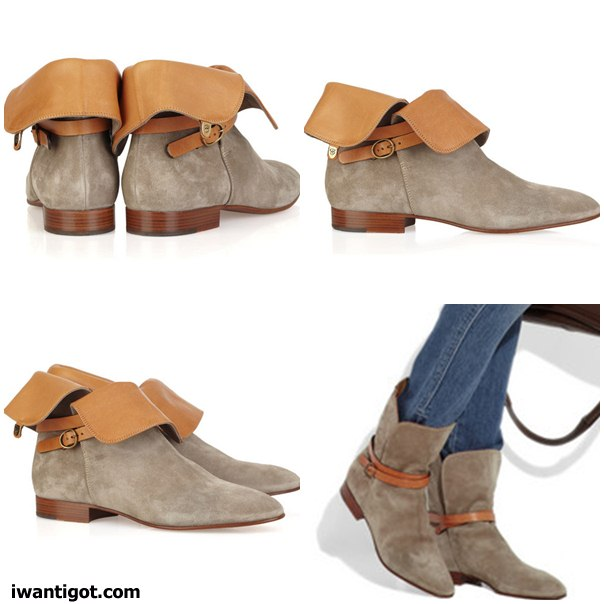 Suede and Leather Ankle Boots by Chloé