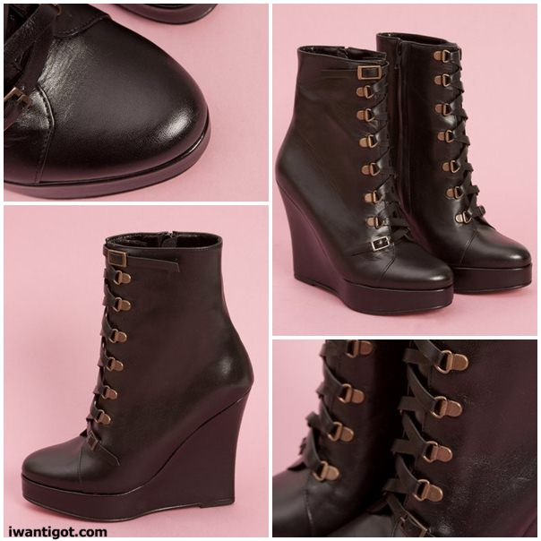 Lace Up Wedge Boot by Opening Ceremony