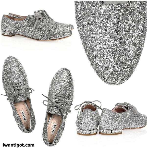 Glitter and Crystal-embellished Brogues by Miu Miu