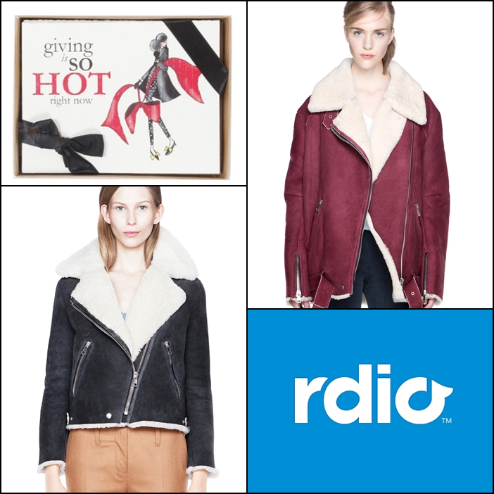 Eighty Seventh St. Fashion Inspired Greeting Cards, Acne Velocite Shearling Jacket, Acne Rita Shearling Jacket, Rdio Gift Certificate