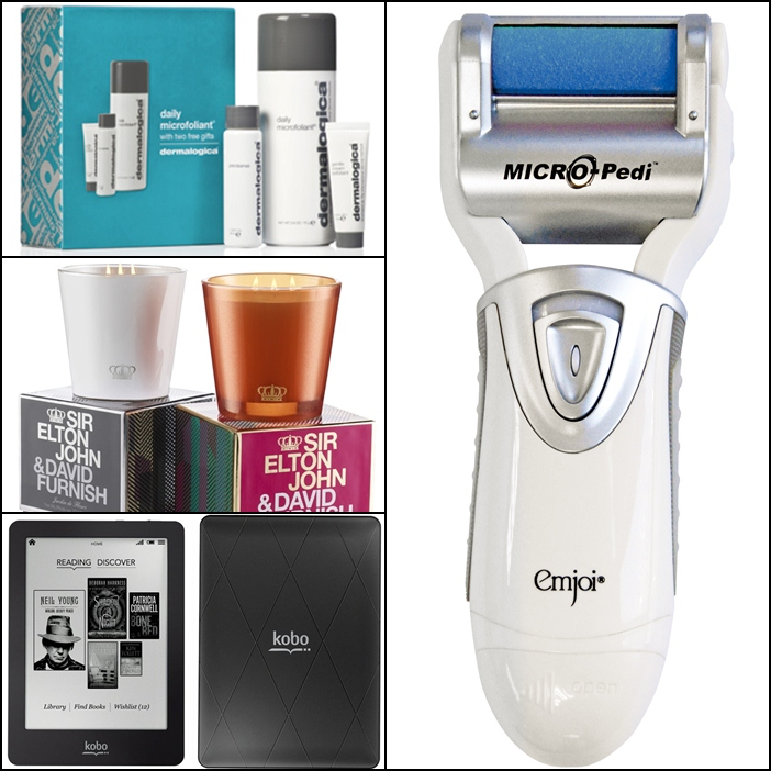 Dermalogica Smooth and Renew Skin Kit, Sir Elton John and David Furnish for Holt Renfrew Candle, Kobo eReader, Micro Pedi