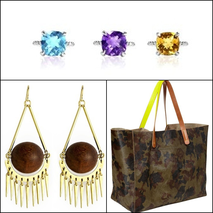 JdJ Studio collection Clover gemstone, Jenny Bird Earth Angel Earrings, Gap Camo Calf Hair Tote