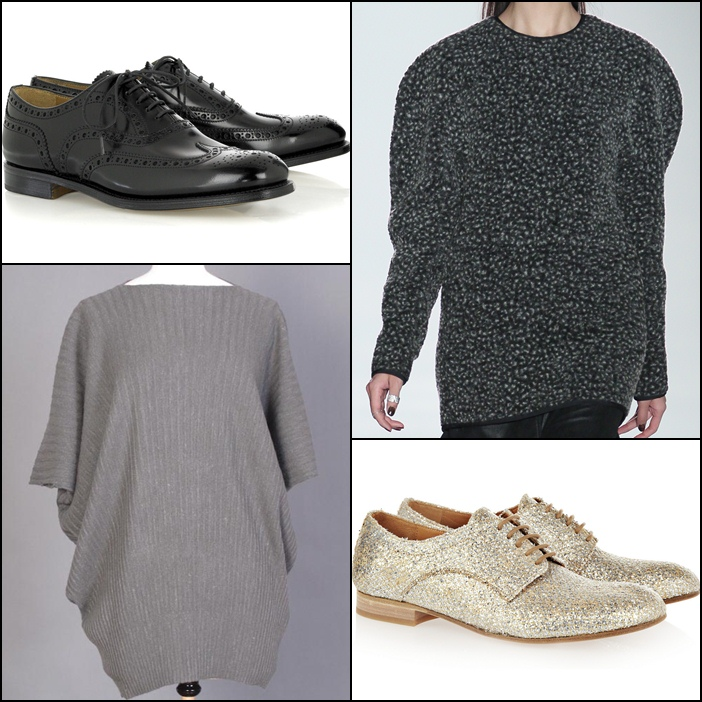 Church's Classic Burwood glossy leather brogues, Jeremy Laing Mouton Knit Sweater, Jeremy Laing Ridged Fan Sweater, Maison Martin Margiela Glitter-finished raffia brogues