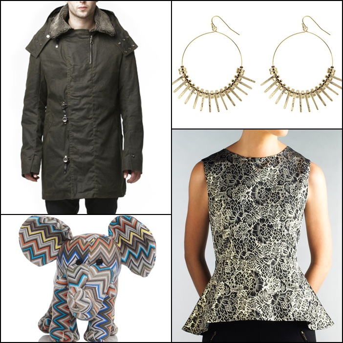 Krane Jonas Officer Coat, Jenny Bird Yin Spike Hoops, Holt Renfrew x Missioni Elephant, Moon Apparel Brocade Peplum Top