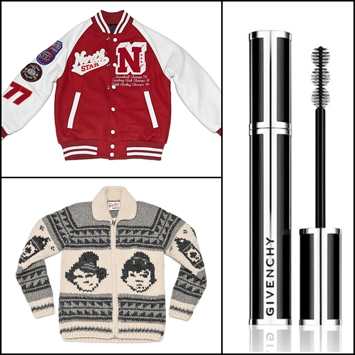 North Star Fall Varsity Bomber, North Star Great White North Sweater, Givenchy Noir Couture Mascara