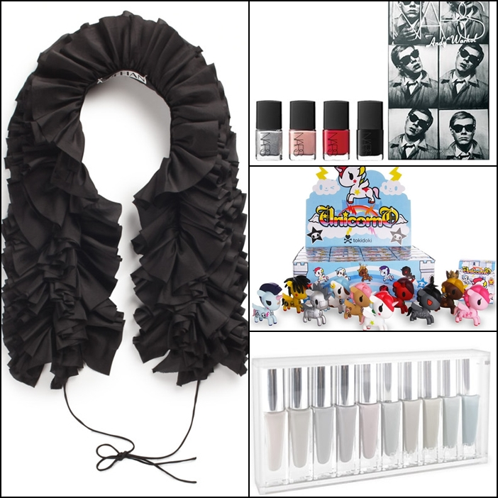 Ruffian Women's Silk Ruffle Scarf , NARS x Andy Warhol Photoboot Set, Tokidoki Unicorno Series 1, strangebeautiful Volume 7 The Inept Laundress