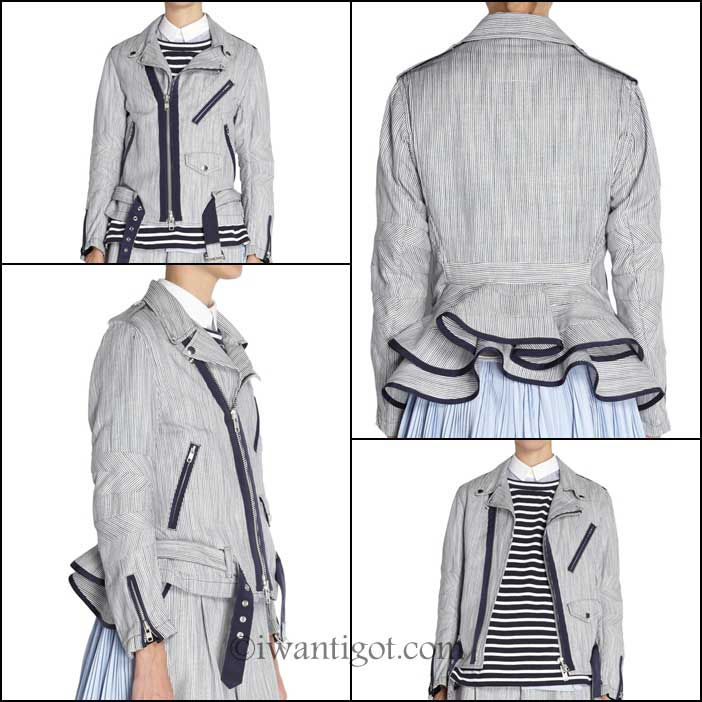 Peplum Moto Jacket by Sacai