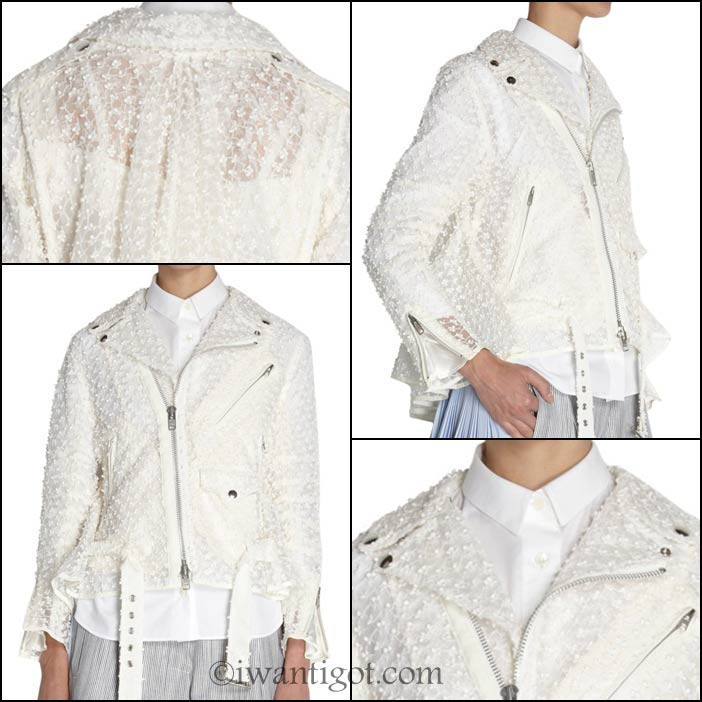 Embroidered Asymmetric Moto Jackets by Sacai
