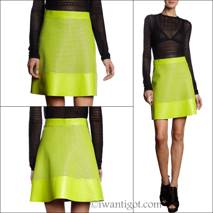 Leather Perforated Mini Skirt by Proenza Schouler