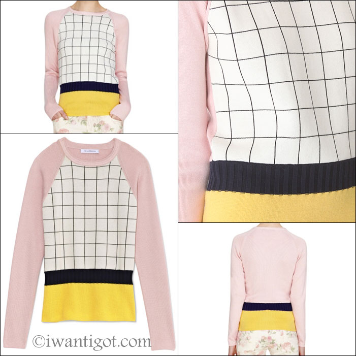Patchwork Raglan Check Sweater by J.W. Anderson