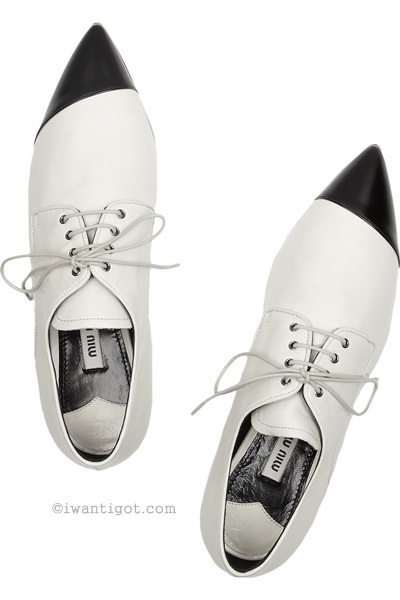 Two-tone Pointed Leather Brogues by Miu Miu