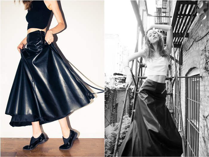 Alana Zimmer wearing Long Leather Skirt by Valentino - The Coveteur