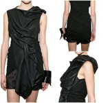 Jersey and Leather Long Top by Rick Owens