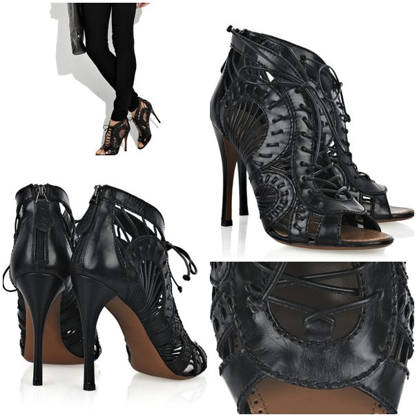 Alaia Lace-front peep-toe ankle boots