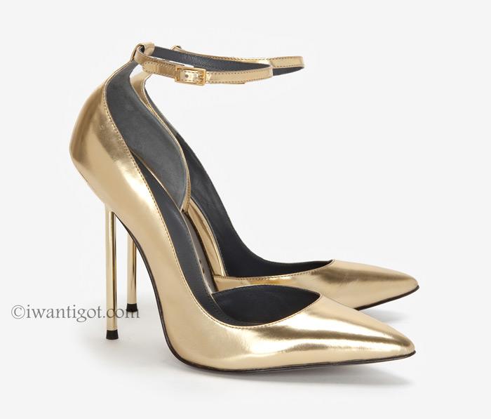 Monika Chiang Zinc D'Orsay Stiletto Metal Heel Mirrored Pointed Toe Pump