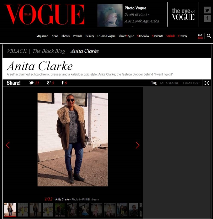 I want - I got/Anita Clarke in Vogue Italia