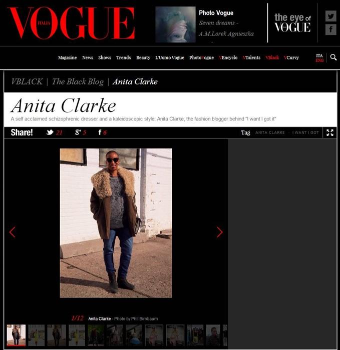 I want - I got/Anita Clarke in Vogue Italia